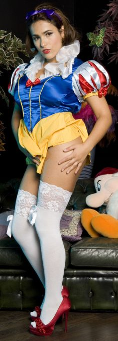 Beautiful brunette Valery Summer while dress as Snow White